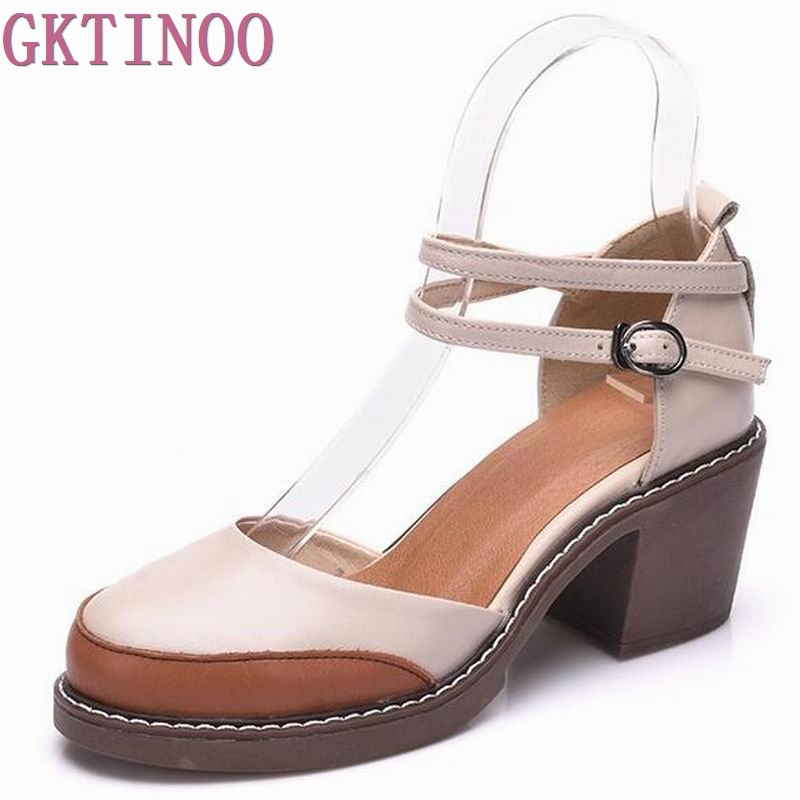 2019 Shoes Woman 100 Genuine Leather Women Pumps Lady Leather Round Toe Platform Shallow Mouth Shoes