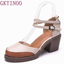 2017 Shoes Woman 100% Genuine Leather Women Pumps Lady Leather Round Toe Platform Shallow Mouth Shoes Size 34-40 #3229