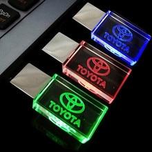 Top Quality  Pen drive 64GB, Creative Crystal Transparent LED for Toyota car Logo 4GB 8GB 16GB 32GB USB Flash 2.0 Memory Drive