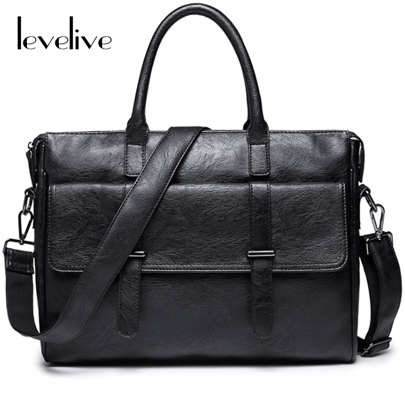 цены  LEVELIVE Casual Men's Designer Black Handbag Men Leather Briefcase Vintage Male Shoulder Messenger Bag Fashion Laptop Briefcases