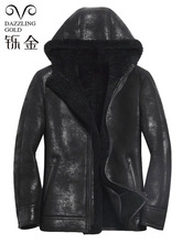 100 genuine leather men coat shearling true sheepskin men jacket real sheep fur coat for men high quality fashion coat winter cheap Leather Suede Wool REGULAR Full Thick NONE Casual Turtleneck zipper Patchwork