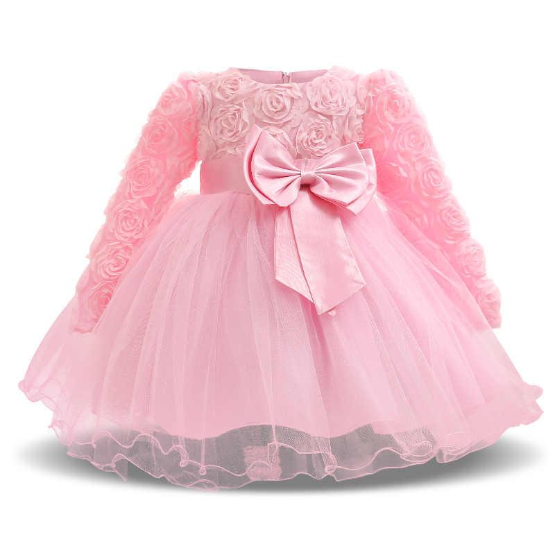 Милое розовое платье с длинными рукавами для маленьких девочек крещения на