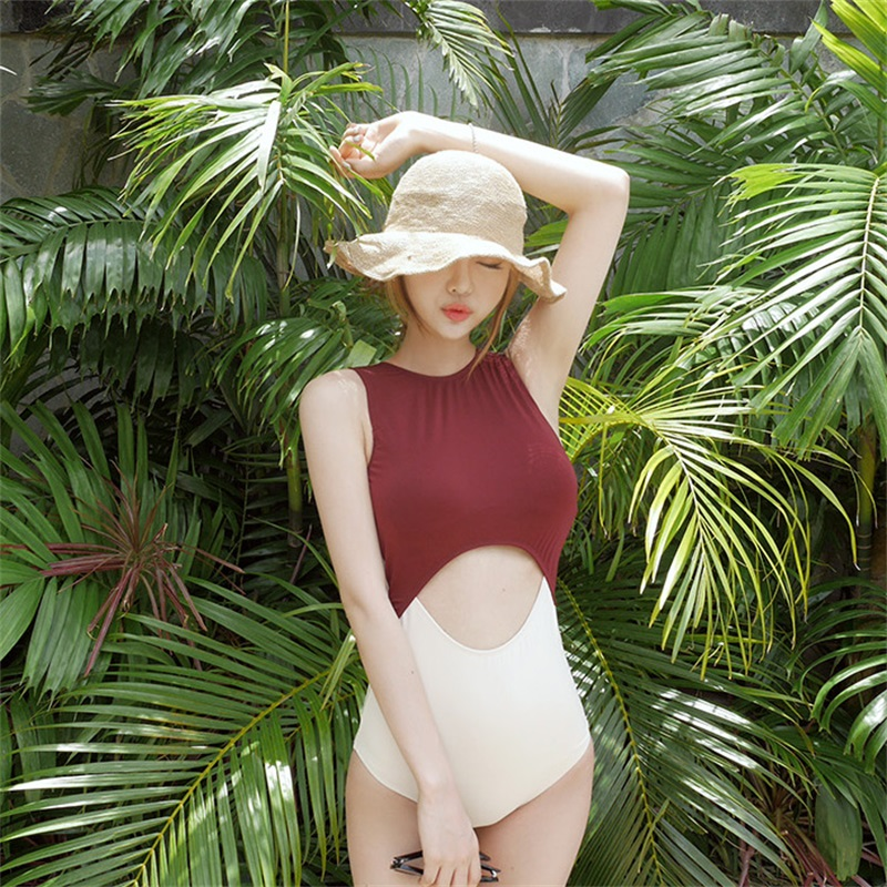 a1c0b3058a3 2017 Newest One Piece Push Up Swimsuit Women Sexy Swimwear Contrast Bathing  Suit Backless Bodysuit Beachwear Patchwork Monokini