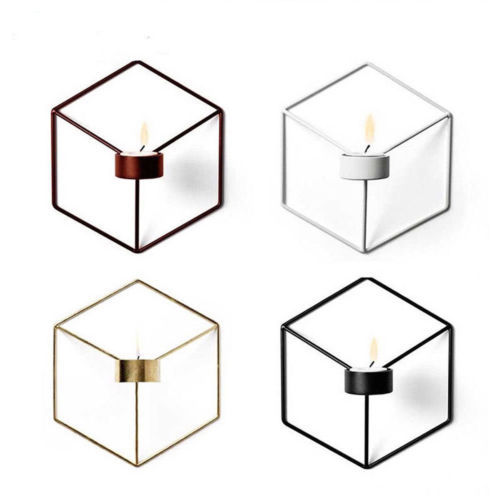 DIY Wall Mounted 3D Geometric Candlestick Tea Light Candle Holder Metal Candlestick Home Decor NEW 6