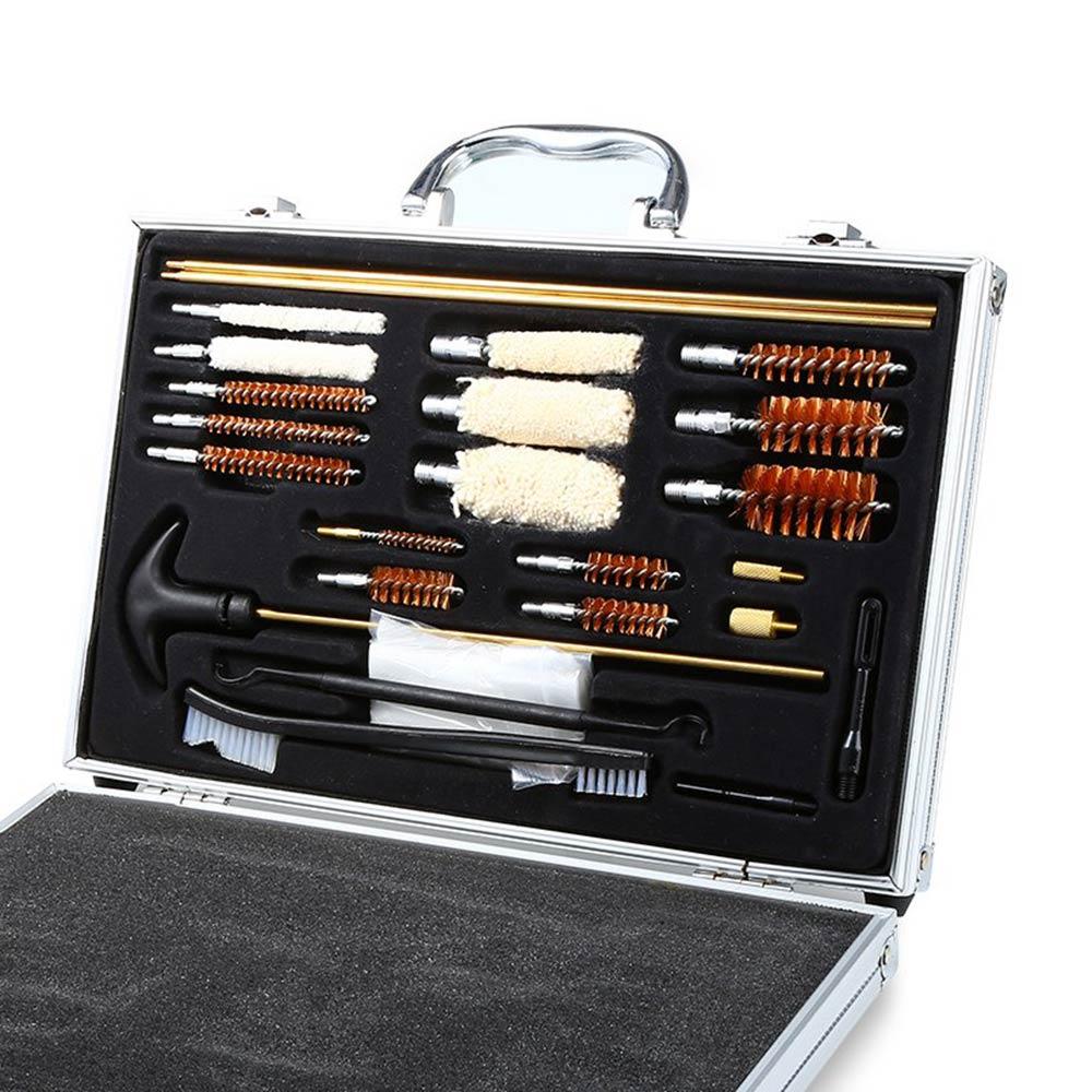 74шт (включаючи 50 пластирів) Універсальний комплект для чищення пістолетів для мисливських рушниць Зручний пристрій з футляром для футлярів Rilfe