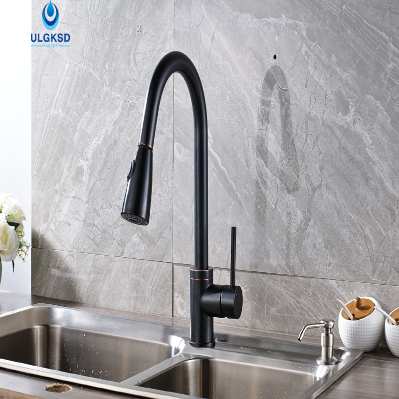 ULGKSD Kitchen Faucet 4 Color Choice Kitchen Sink Pull Down Deck Mounted Single Handle Faucet Hot