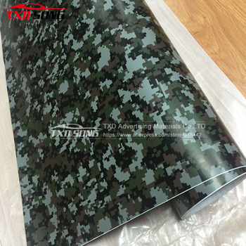 Premium quality Black Digital Camo Vinyl Sticker for car body decoration Digital Camouflage Vinyl Black Camouflage Sticker image