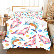 Yi chu xin cartoon 3d Narwhal bedding set luxury Marine animals duvet cover set queen/twin size bed set kids bedlinen(China)