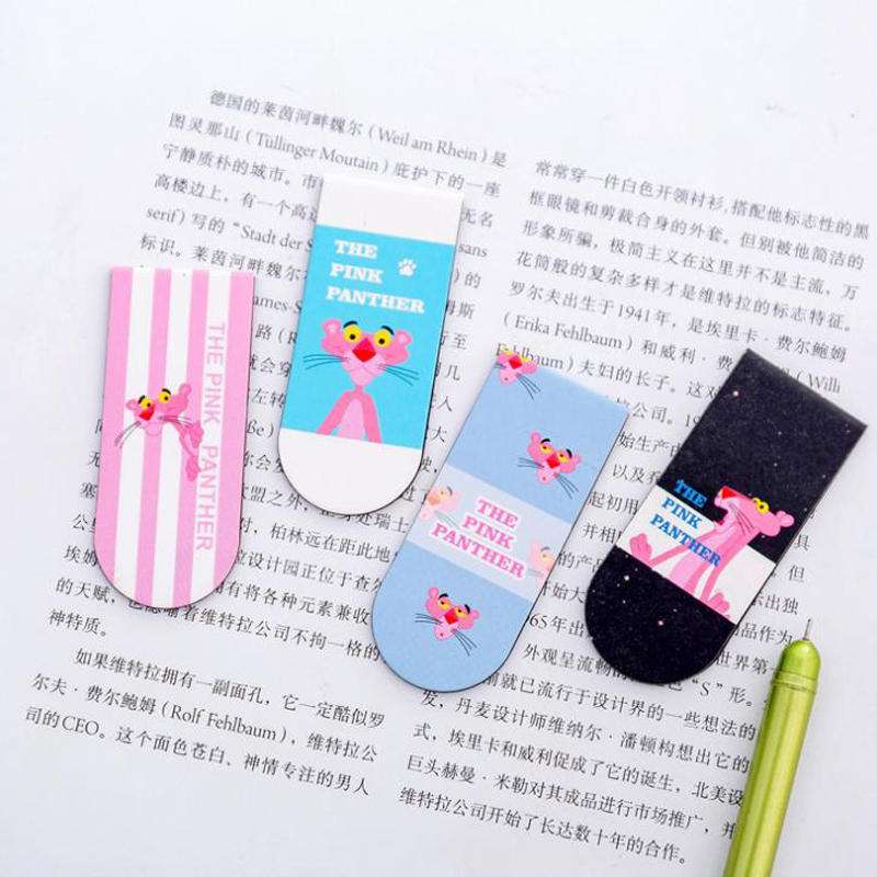 4 Pcs/set Cartoon Animal Pink Panther Paper Magnetic Bookmarks School Paper Clip Page Holders Korean Stationery For Kids Gift