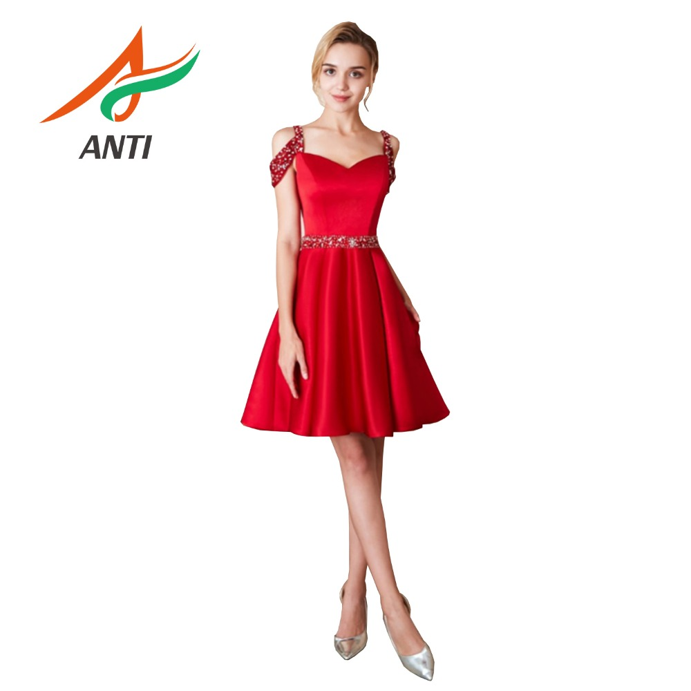 ANTI Romantic Red   Cocktail     Dresses   Fashion Satin Crystal A-Line Short   Dress   Unique Design Sequined Beading With Sashes In Stock