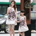 Family Set Matching Mother Daughter Clothes 2016 Summer Mini Dress Mommy and Girls Flower Print Dress