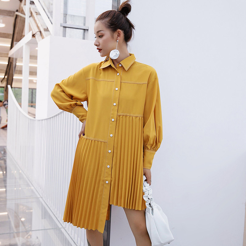 2019 Spring Casual Yellow Blouse Women Autumn Loose Irregular Shirt Pleated Blouse