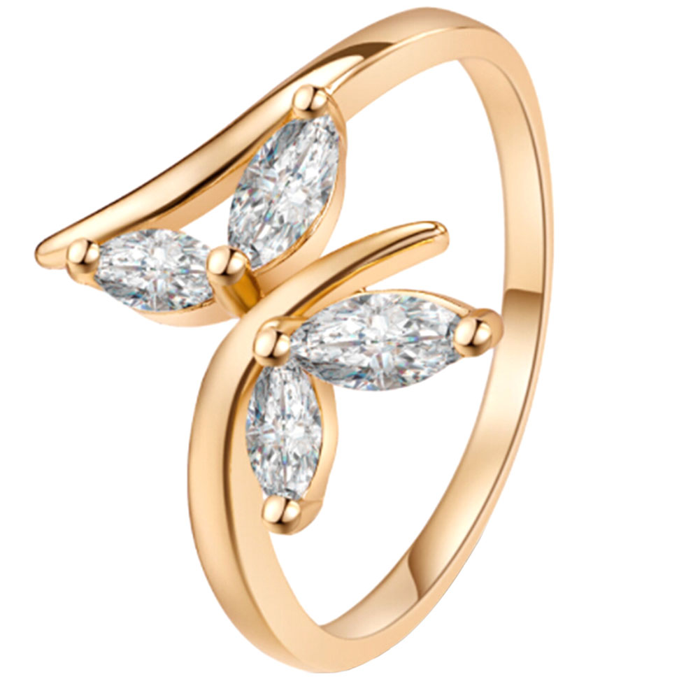 Butterfly Rings Jewelry Wedding-Ring White Zircon Gold-Color Women for Female