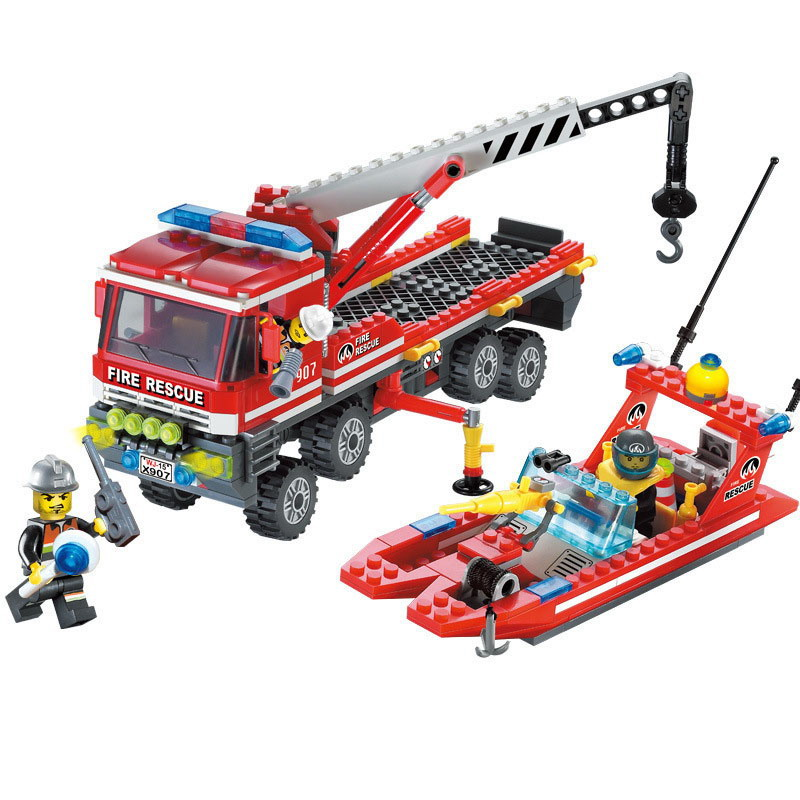 907 ENLIGHTEN Fire Fighting Police Fire Boat Crane Truck Model Building Blocks Action Figure Toys For Children Compatible Legoe 1916 enlighten city water police station series plan breakout model building blocks figure toys for children compatible legoe