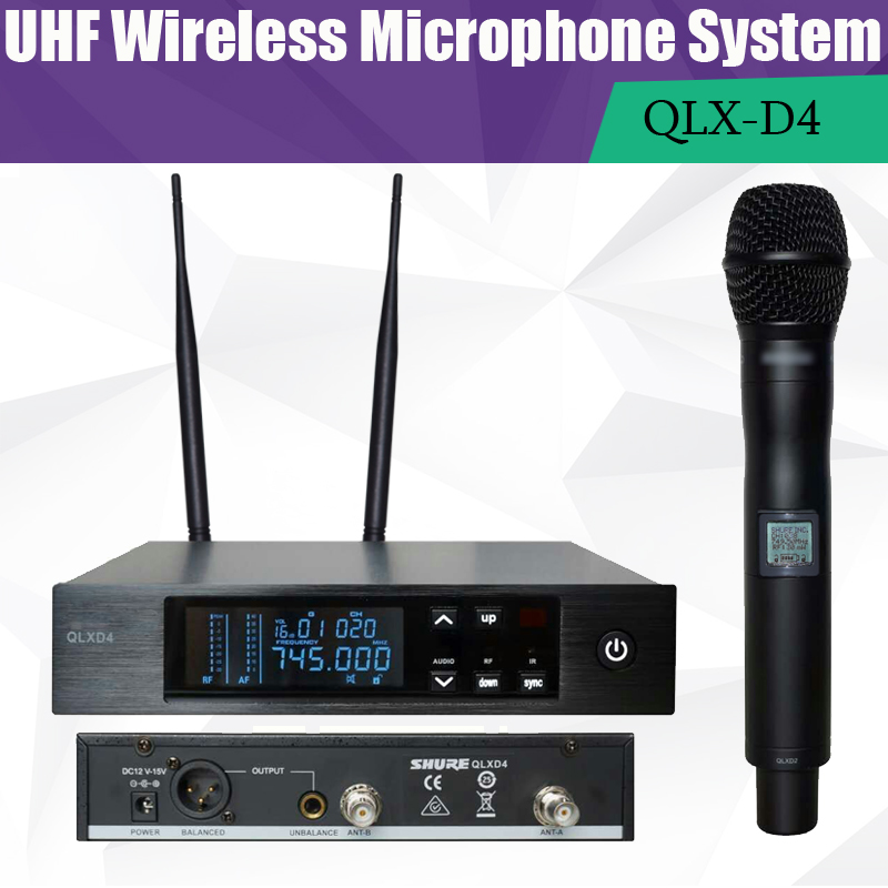 740 765 606 630Mhz Digital Wireless Microphone System MICROPHONE SYSTEM True Diversity UHF Cordless MIC QLXD4