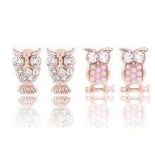 2016 TOP Bridal Austrian Crystal Earrings Women Stud Earring Rhinestone Owl Elegant Fashion Pearl Earrings Female Long E0141