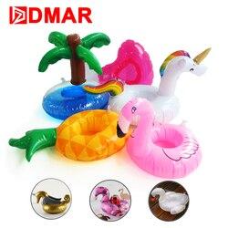 Unicórnio DMAR Mini Flamingo Inflável Donut Piscina Flutuadores Flutuar Brinquedos Bebida Titular Copos Partido Anel de Natação Brinquedos de Praia para Crianças Adultos