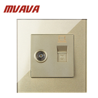 MVAVA Champagne Crystal Glass Panel 2 Gangs Wall Computer And Television Socket Outlet RJ45 Data Socket