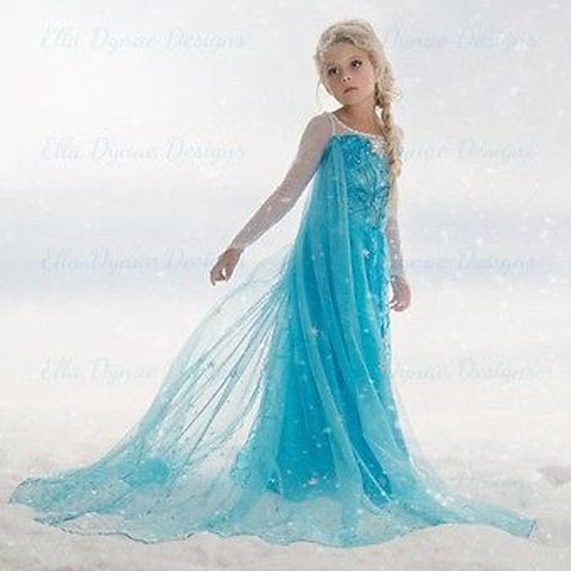 Tiange Haute Qualité De Mariage plus Filles Robe Costumes Enfants Princesse 3-12 T Partie Robes Pour Bébé Enfants Cape Anna Enfants Tissu