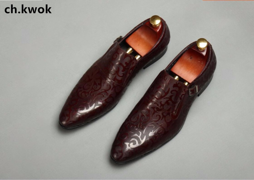 CH.KWOK Floral Leather Men Dress Shoes Wedding Evening Party Night Club Men Formal Leather Oxfords Shoes Fall Pointed Toe Shoes 2017 men shoes fashion genuine leather oxfords shoes men s flats lace up men dress shoes spring autumn hombre wedding sapatos