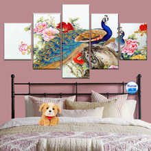Canvas painting 5 pieces of art bird and colorful flower animal peacock poster family wall picture modular