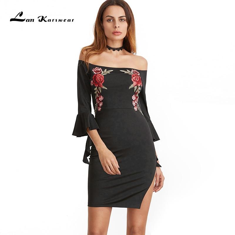 Lan Karswear Brand 2019 Summer Dress Sexy Slash neck Embroidery Sheath Bodycon Club Party Dresses Women Free Shipping Vestidos