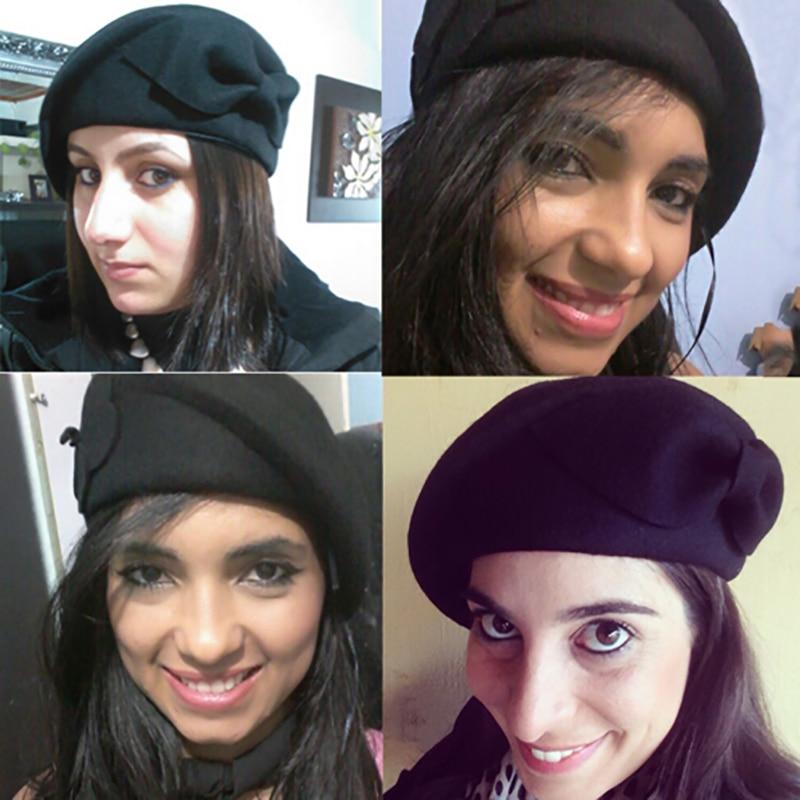 554c65dabf6 Fashion Brand Winter Beret Hat For Women Beret Hat Female Beanies Cap  Flower Pattern Stewardess Hats Ladies Winter Beret Hat-in Skullies   Beanies  from ...