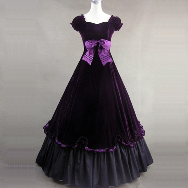 9e84d953f024 High Quality Purple Princess Dress 18th Century Retro Square Collar Gothic  Victorian historical masquerade Party Ball Gowns