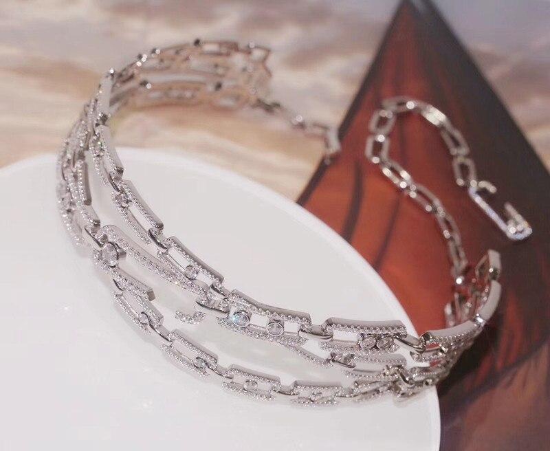 Designer De Mode 925 Bijoux En Argent Sterling 3A Cubique Zircone Parti Collier
