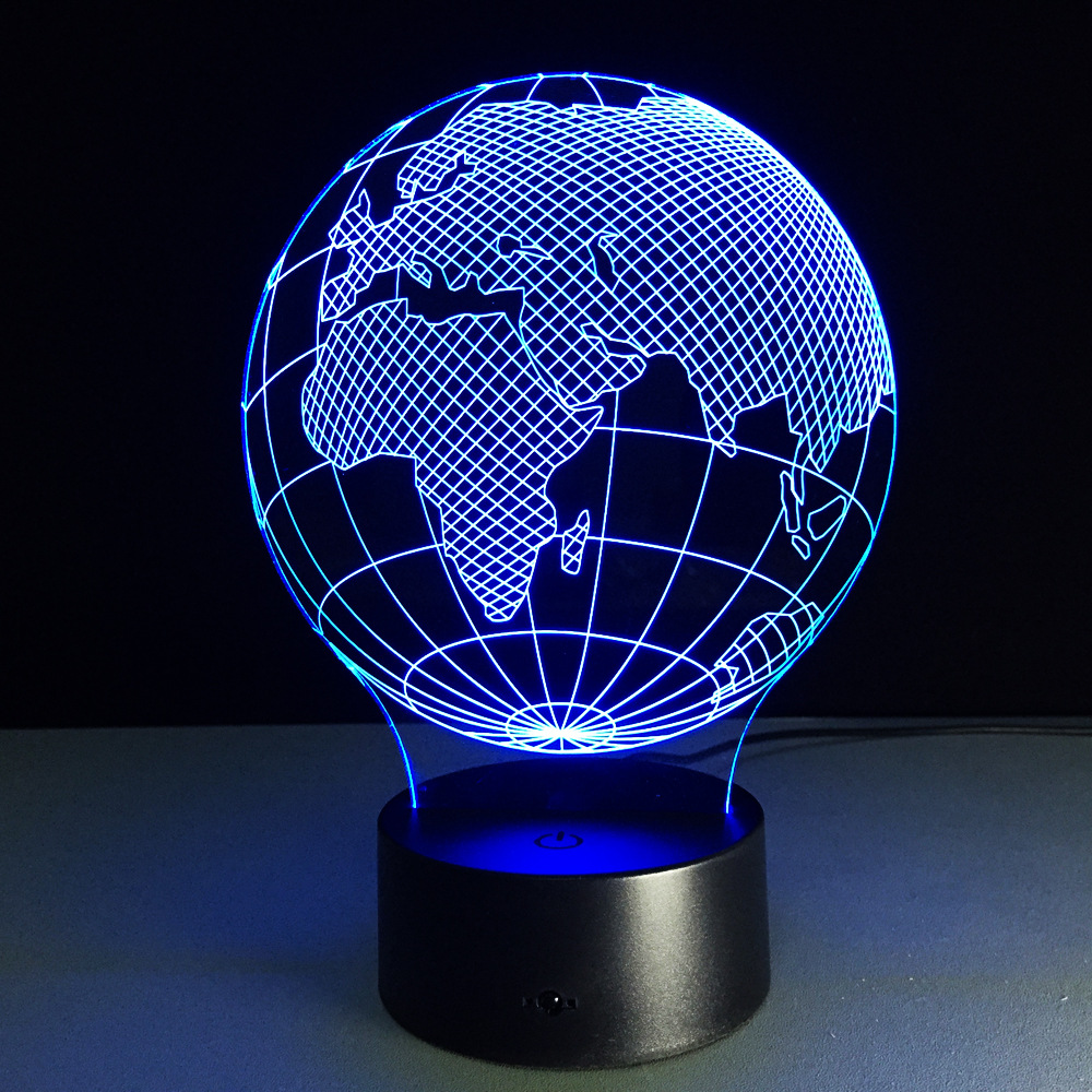 State Map 3D Lamp LED 7 colour change Night Lights Remote&Touch Switch USB Table Lamp Acrylic baby sleep light
