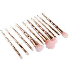 10PCS Rose Gold Make Up Brush Set High Quality Foundation Blusher Powder Brush Tools Flat Eyeliner Eyebrow Makeup Brush