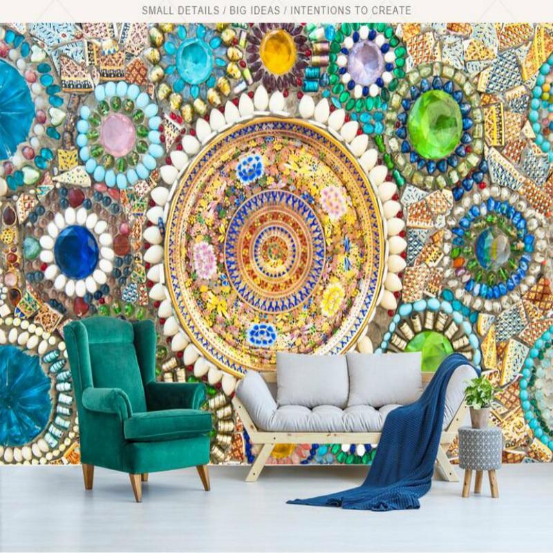 Rétro bohème Jade mosaïque 3d papier peint Triangle peinture décorative papier peint pour salon ...
