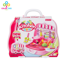 Girls Simulation Cookware Toy Pink Kitchen Set with Carrying Box Toys for Children