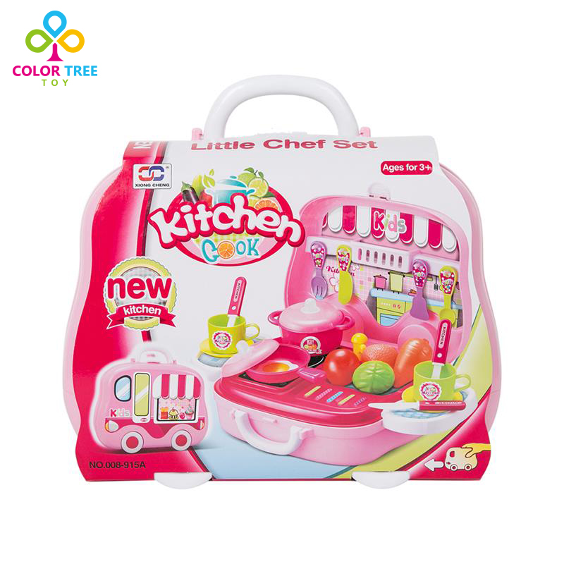 US $13.64 |Girls Simulation Cookware Toy Pink Kitchen Set with Carrying Box  Toys for Children-in Kitchen Toys from Toys & Hobbies on AliExpress