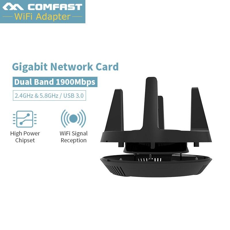 CF-958AC Comfast 1900 Mbps double fréquence Sans Fil USB 3.0 wifi 2.4G et 5.8G Dongle Adaptateur 802.11a/g /n/ac Antenne Carte Réseau