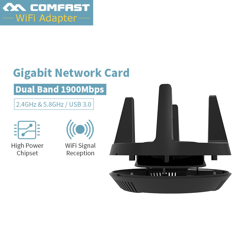 CF-958AC Comfast 1900 Mbps double fréquence sans fil USB 3.0 wifi 2.4G & 5.8G adaptateur Dongle carte réseau d'antenne 802.11a/g/n/ac