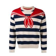 ECTIC Men Thickened sweater Retro digital printing fashion man Round neck shawl Jacquard coat S-XXL