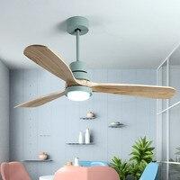 Nordic Macaron светодиодный потолочный вентилятор свет современный три цвета изменить гостиная ужин бар деревянный веер лампа с дистанционное уп