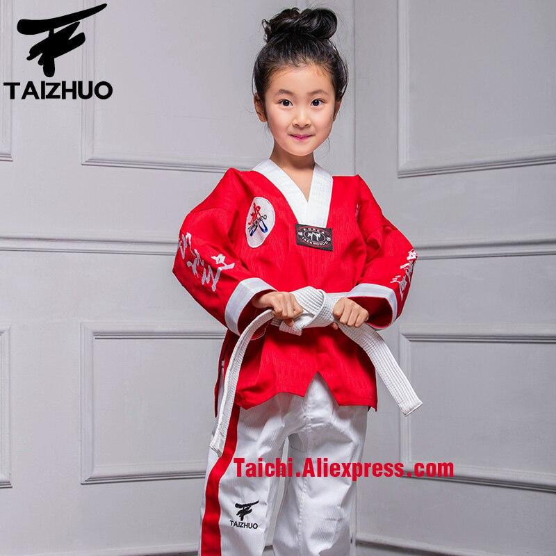 Martial Arts  Tae Kwon Do Children Taekwondo Uinform For Poomsae & Training,WTF Uniform,110-155cm White Pants + Red Top