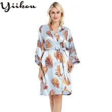 Female summer thin section silk silk pajamas fashion cardigan home robe print bride bridesmaid dress