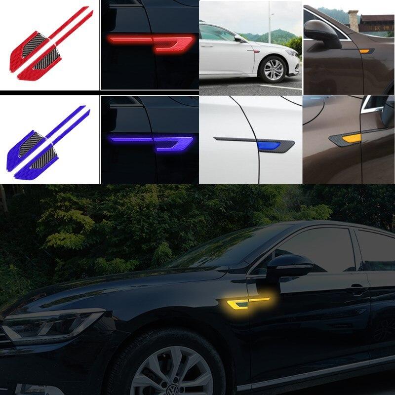 Carbon Fiber Universal Rubber Sticker Anti Scratch Protector Reflector Side Body Fender Cover Trim