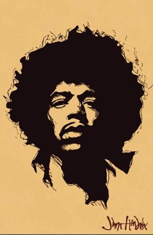 Musician Jimi Hendrix Singer Art Silk Fabric Poster 36 x 24