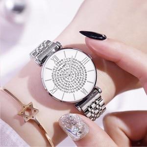 Image 3 - ホット販売女性ステンレス鋼完全なダイヤモンドの腕時計カジュアル高級レディースクォーツ時計 YOLAKO 時計レロジオ Feminino
