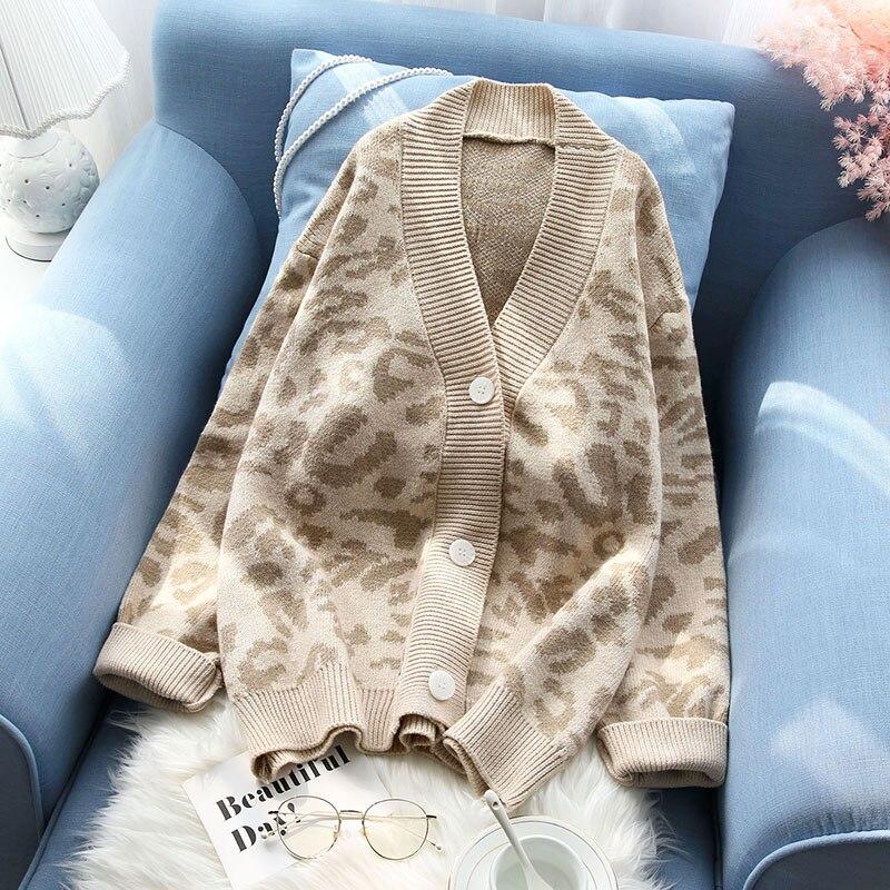 Женский свитер и кардиган 2019 Весна новая утолщенная пуговица вязаный v образный вырез Леопард леди теплая верхняя одежда пальто Топы