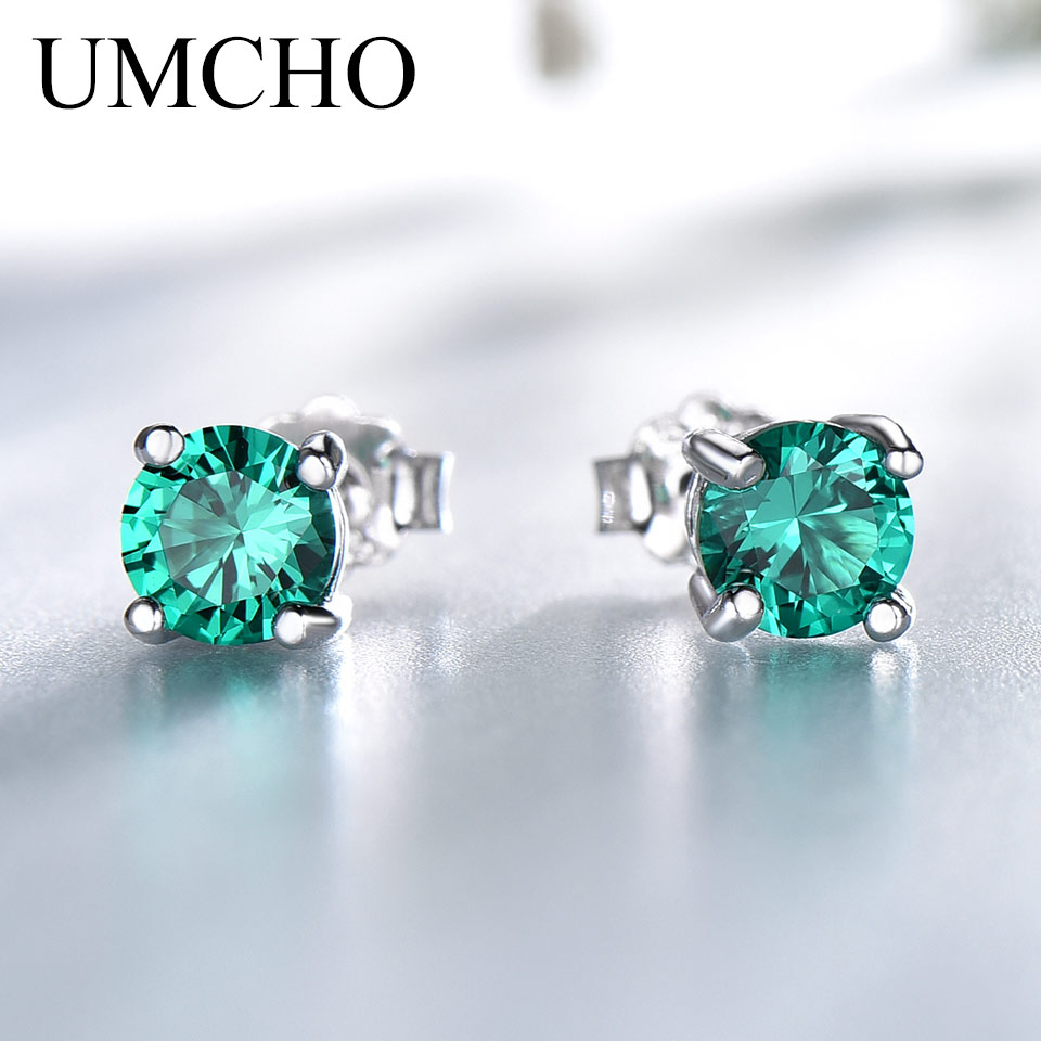 UMCHO Stud-Earrings Jewelry Emerald Engagement Gemstone 925-Sterling-Silver Women Solid