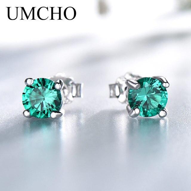 UMCHO Katı 925 Ayar Gümüş Zümrüt Taş Saplama Küpe için Kadın Nişan Düğün sevgililer Günü Hediye Klasik Takı