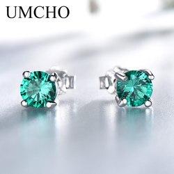 UMCHO Sólido 925 Sterling Silver Emerald Brincos de Pedras Preciosas Do Parafuso Prisioneiro para As Mulheres de Noivado do Casamento do Presente do Dia Dos Namorados Jóias Clássico