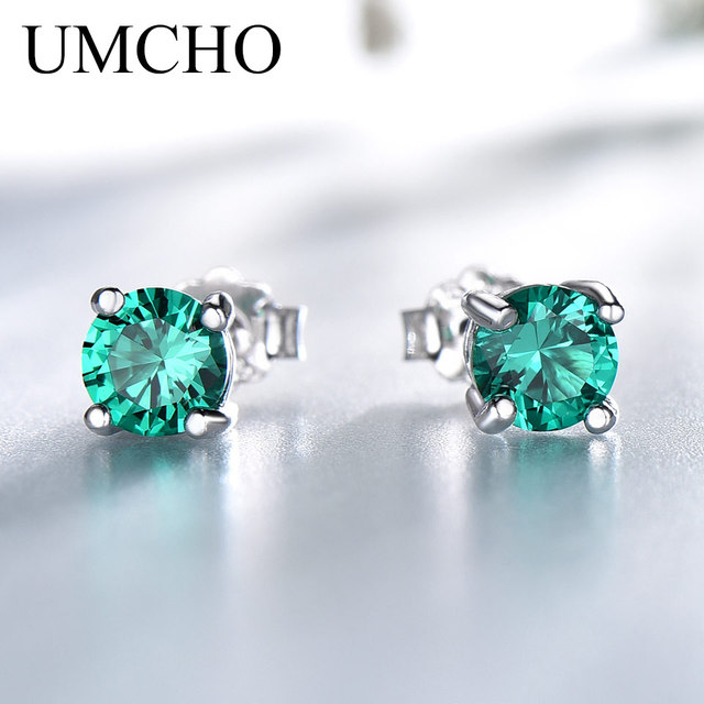 UMCHO Solid 925 Sterling Silver Emerald Gemstone Stud Earrings for Women Engagement Wedding Valentine's Day Gift Classic Jewelry
