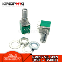 10pcs RV097NS B5K B10K B20K B50K B100K B500K 5PIN single linked potentiometer with a switch audio sealing potentiometer