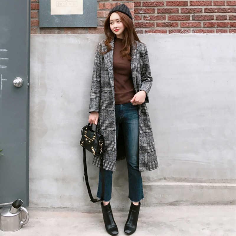 2019 Musim Semi Musim Gugur Wanita Wol Kotak-kotak Mantel Baru Mode Panjang Wol Slim Tipe Wanita Musim Dingin Wol Jaket Wanita keluar